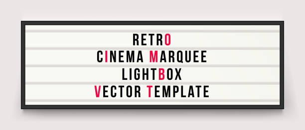 retro cinema marquee or movie signage lightbox in frame vector template - alphabet borders stock illustrations