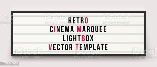 Retro Cinema Marquee Or Movie Signage Lightbox In Frame Vector Template - Immagini vettoriali stock e altre immagini di Affari