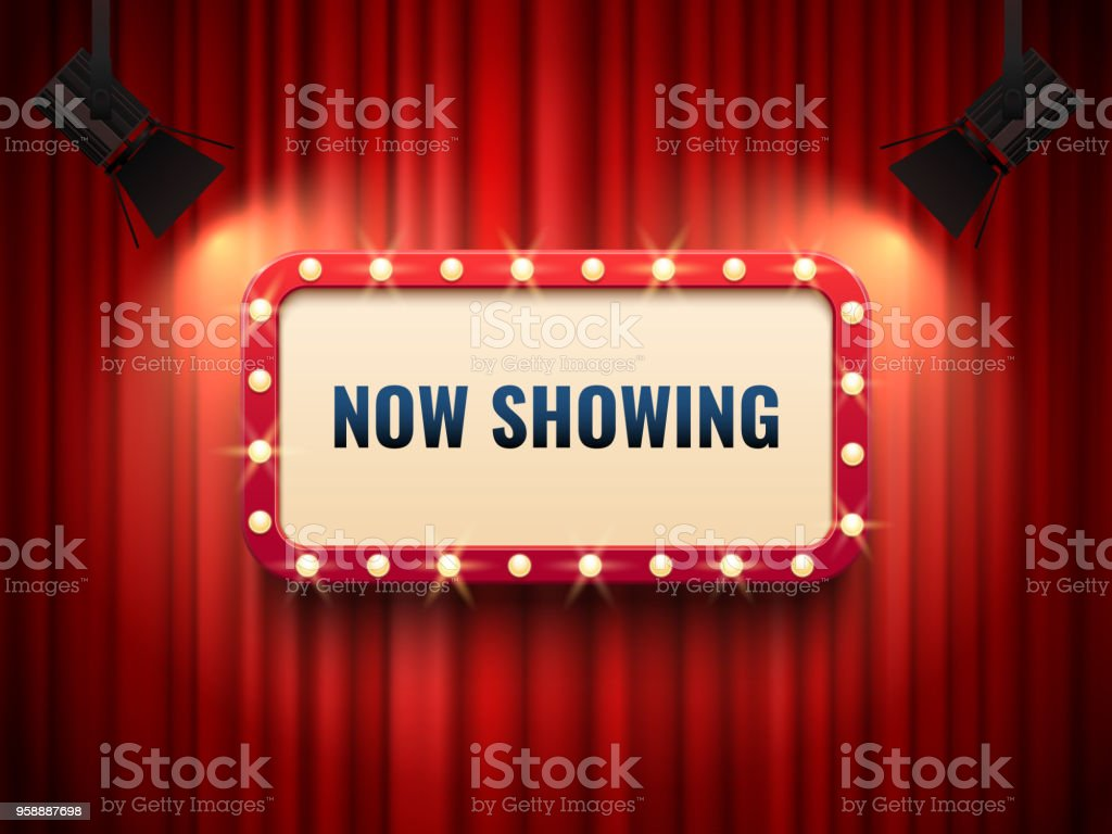 Retro cinema or theater frame illuminated by spotlight. Now showing sign on red curtain backdrop. Movie premiere signs vector template royalty-free retro cinema or theater frame illuminated by spotlight now showing sign on red curtain backdrop movie premiere signs vector template stock illustration - download image now