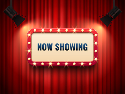 Retro cinema or theater frame illuminated by spotlight. Now showing sign on red curtain backdrop. Movie premiere signs vector template