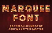 istock Retro Cinema or Theater Shows Marquee Font for Dark Background 1266839300