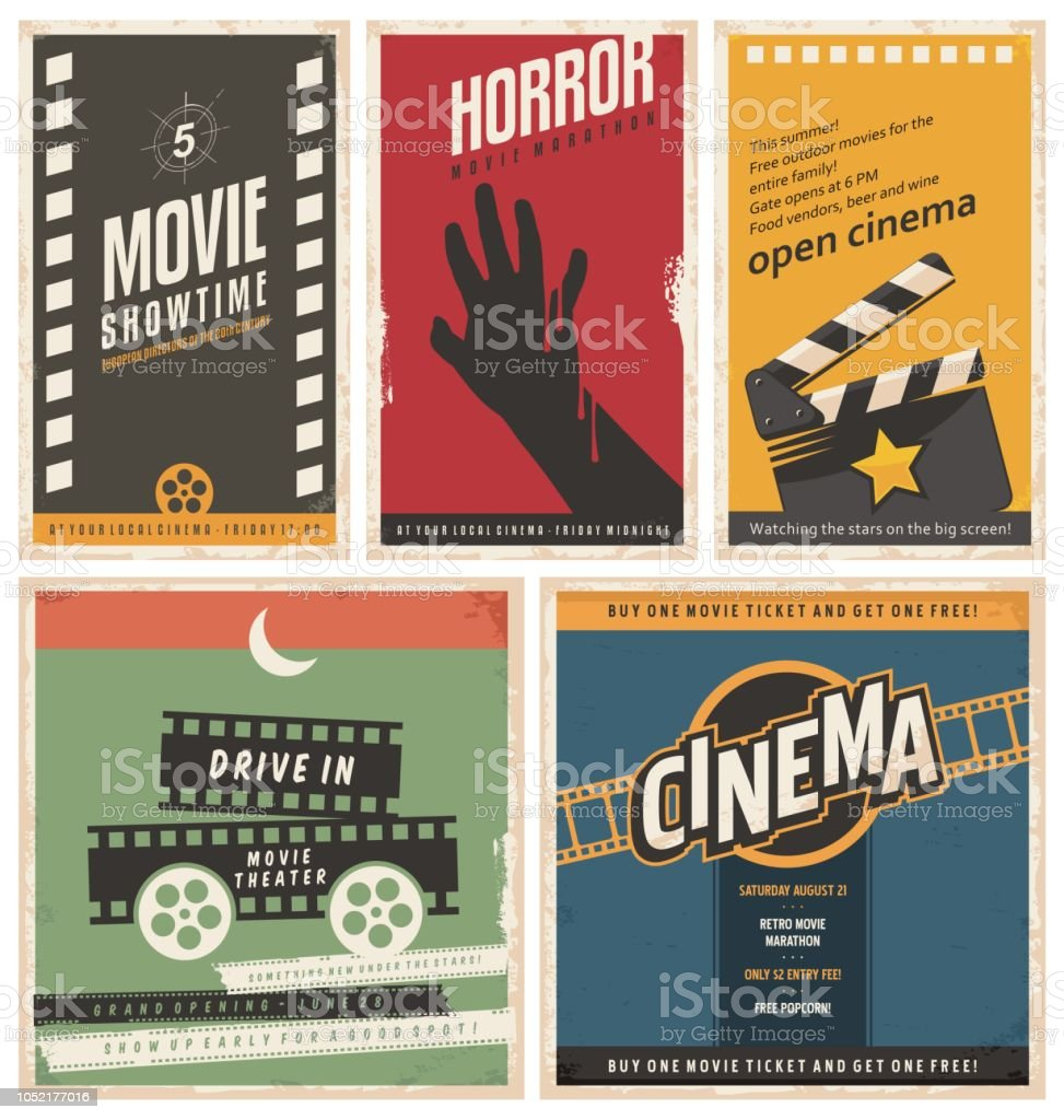 Retro cinema posters and flyers collection
