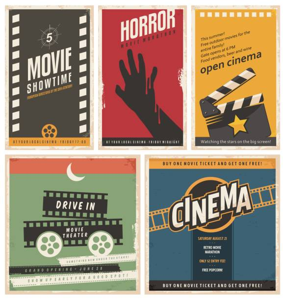 Retro cinema posters and flyers collection Retro cinema posters and flyers collection. Vintage movie signs layouts. Promotional film printing templates for ads or banners on old paper texture. performing arts event stock illustrations