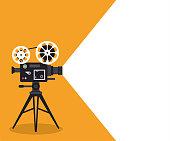 Retro cinema projector on poster. Vector illustration