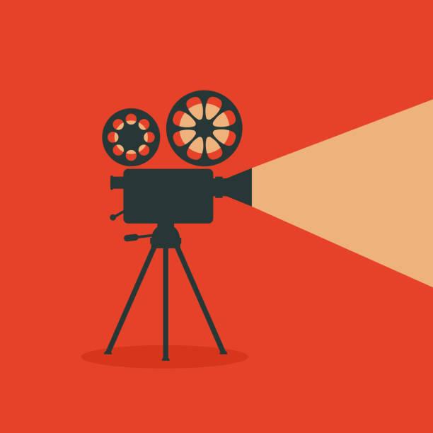 illustrazioni stock, clip art, cartoni animati e icone di tendenza di retro cinema. retro film projector. - cinema