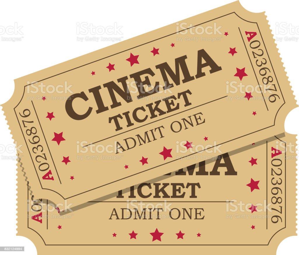Retro cinema tickets vector art illustration