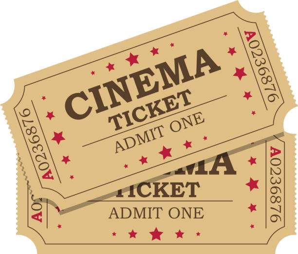 Retro cinema tickets Retro cinema tickets icon on white background, Vector illustration in flat style admit one stock illustrations