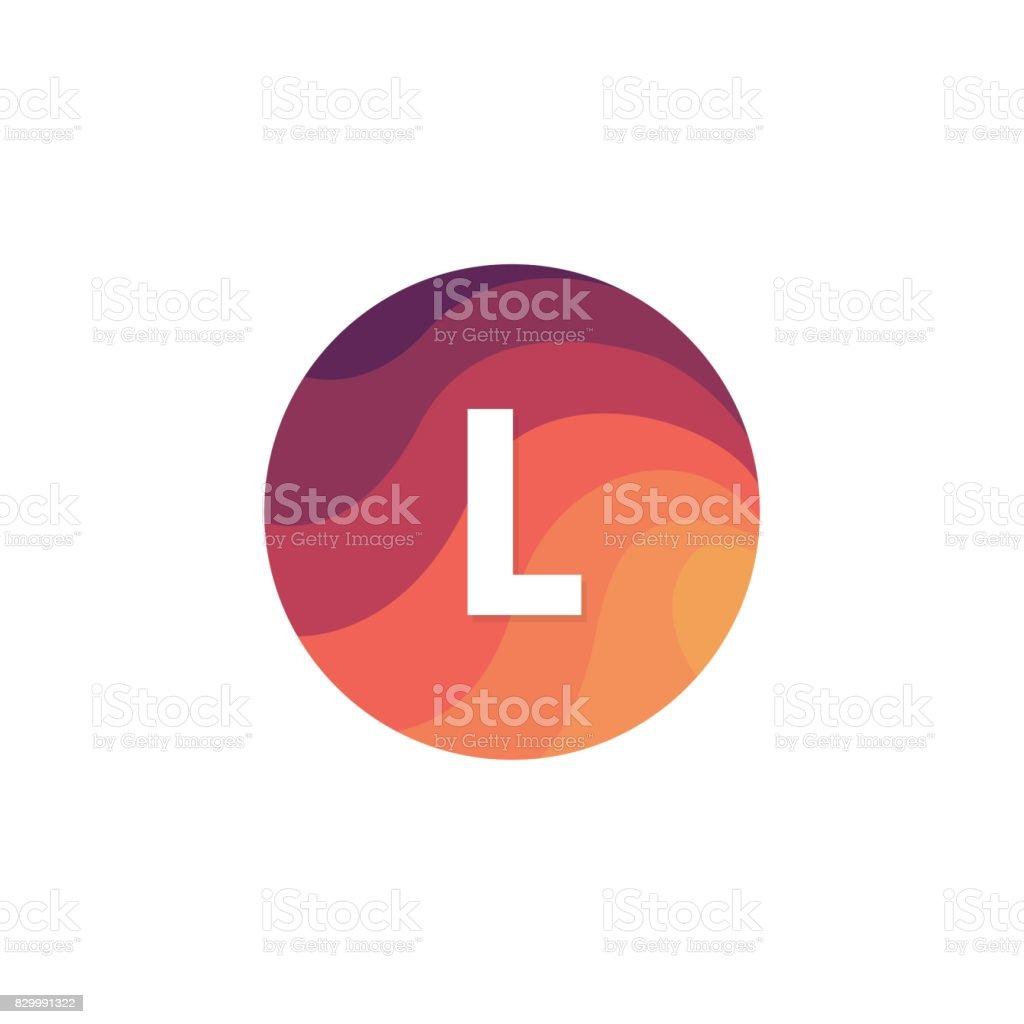 Retro-Kreis-Symbol L Brief Logo Zeichen flache Bauweise. – Vektorgrafik