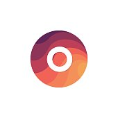 Retro circle icon O letter logo sign flat design.