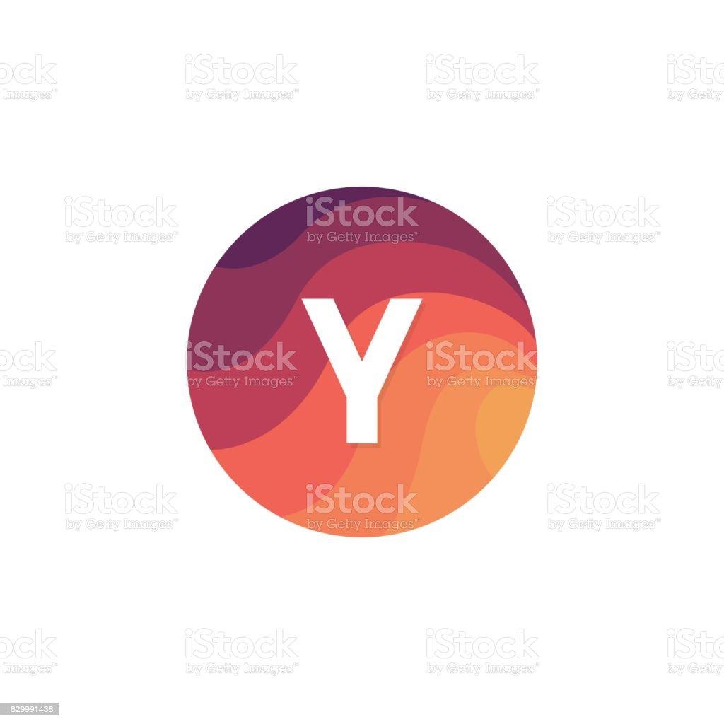 67530d1f7 Círculo retrô ícone Y letra logotipo sinal plano de projeto. vetor de  círculo retrô ícone