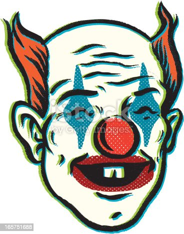 this is a clown with a rubber nose. hes drawn in a retro vintage style to give an old poster look.
