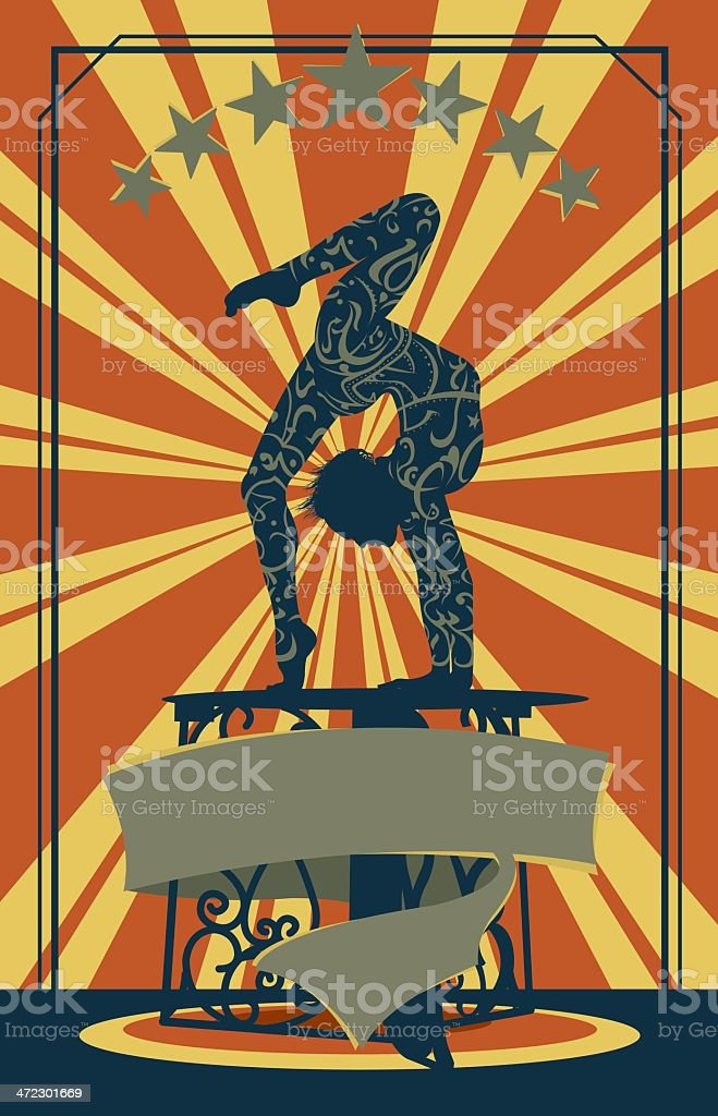Retro Circus Performer with Banner - Contortionist Background vector art illustration