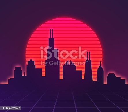 Retro metro city sunset illustration.
