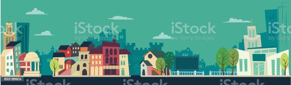 Retro City landscape - flat illustration - illustrazione arte vettoriale
