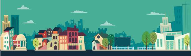 Retro City landscape - flat illustration - illustrazione arte vettoriale