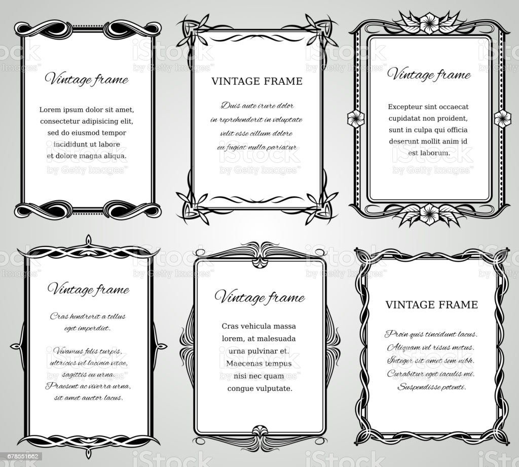 Retro classic borders and calligraphic old wedding photo frames vector collection vector art illustration