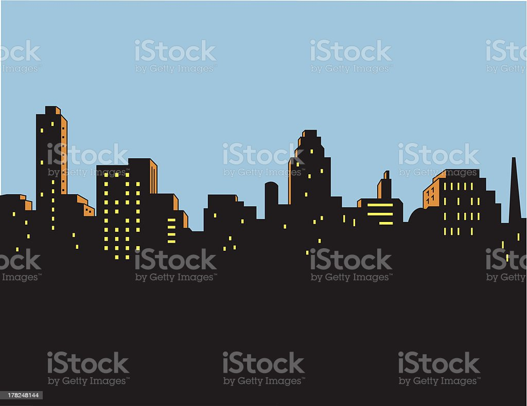 Retro Classic City Skyline vector art illustration