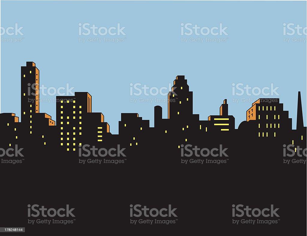Retrô clássico horizonte da cidade - ilustração de arte em vetor