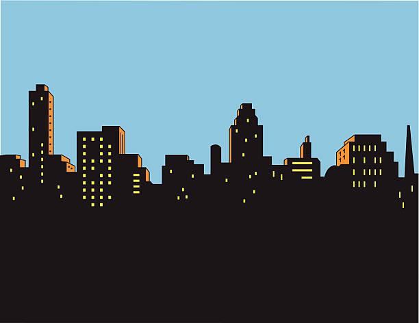 Retro Classic City Skyline vector art illustration