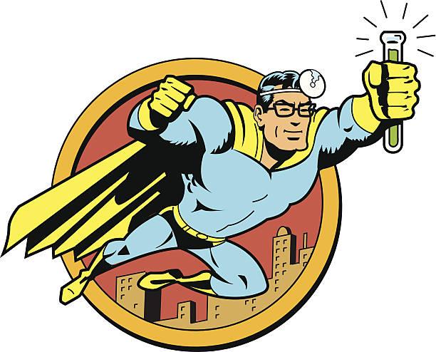 Retro Classic Super Doctor vector art illustration