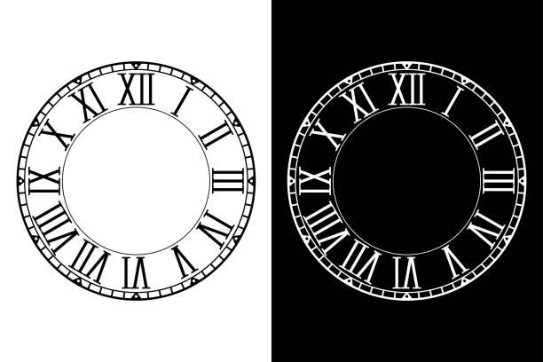 illustrazioni stock, clip art, cartoni animati e icone di tendenza di retro clock face with roman numerals - quadrante