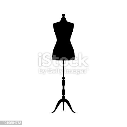 Retro clothing mannequin black vector silhouette. Vintage female dummy dress mannequin.
