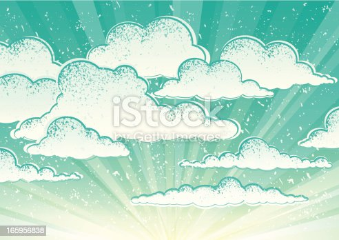 Old style cloudscape, cloudy sky background. Vintage, grunge style.