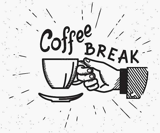 ilustrações de stock, clip art, desenhos animados e ícones de retro lanchar feito ilustração - pausa para café
