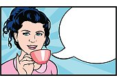 Pretty brunette woman in a retro style drinking a cup of coffee. Vintage style girl in a pink blouse on a blue sunburst background. She is holding a cup of coffee - or tea -  and has an empty speech bubble for your text. Original design pop art illustration.