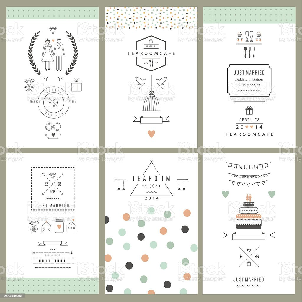 Retro collection of wedding invitations. Wedding, marriage, bridal. Isolated. Vector vector art illustration