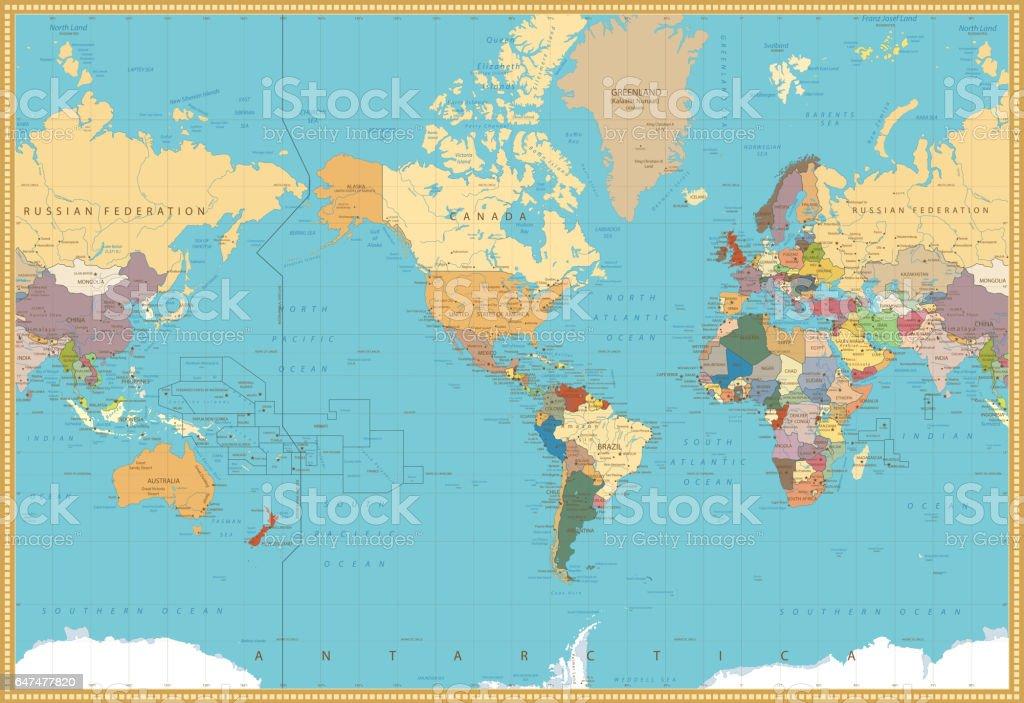 Ilustracin de america retro color centrado en el mapa poltico america retro color centrado en el mapa poltico mundial ilustracin de america retro color centrado en gumiabroncs Images