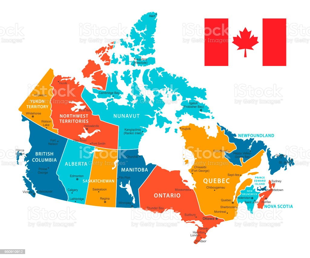Retro color map of canada vector illustration stock vector art retro color map of canada vector illustration royalty free retro color map of canada gumiabroncs Images