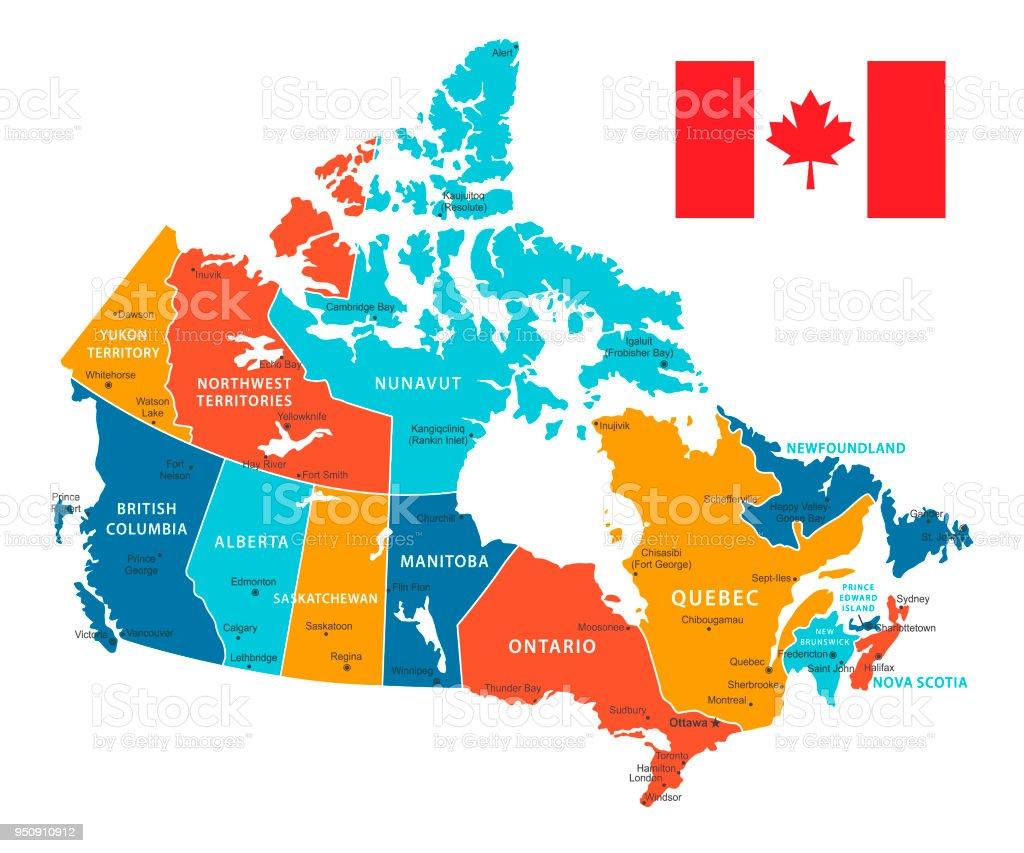 Retro-Farbkarte von Kanada. Vektor-Illustration – Vektorgrafik
