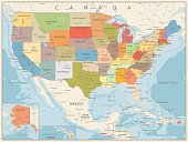 Retro Color Political Map of USA with water objects, cities and capitals.