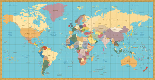 Retro color political World Map – Vektorgrafik