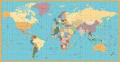 Retro color political World Map