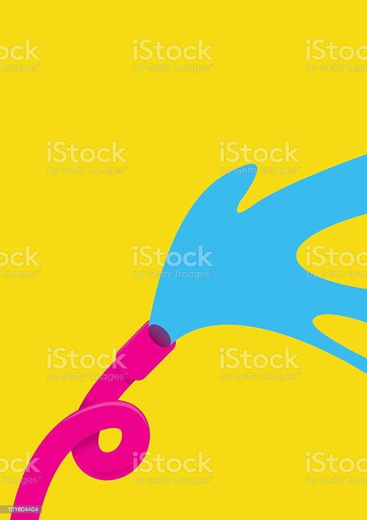 Retro farbigen Rohr mit Wasser Schlauch – Vektorgrafik