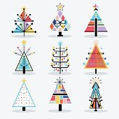 Retro colorful and trendy isolated pop art Christmas trees icons set on white background