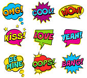 Retro colorful comic speech bubbles set on white background. Expression text BANG, OMG, LOVE, BE MINE, YEAH, OOPS, KISS, COOL, WOW.