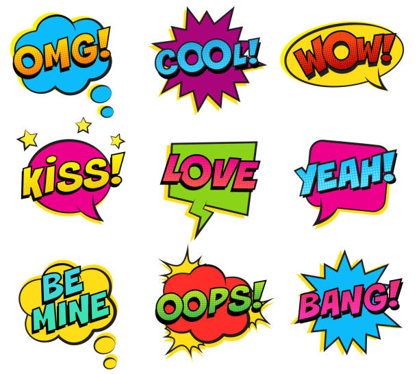 retro colorful comic speech bubbles set on white background. expression text bang, omg, love, be mine, yeah, oops, kiss, cool, wow. - kiss stock illustrations