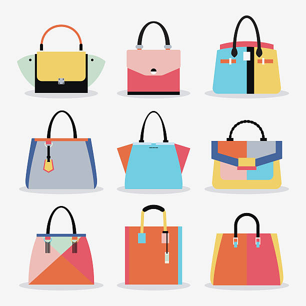 illustrazioni stock, clip art, cartoni animati e icone di tendenza di retro colorful cute trendy women handbags and purse set - borsetta