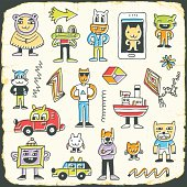 Retro colorful doodle characters set on paper texture 3. Hand drawn vector illustration.