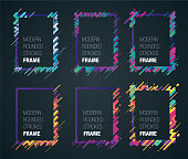 retro colorful rounded strokes frame set