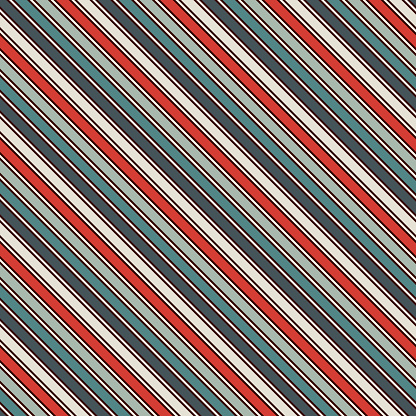 Retro colors diagonal stripes abstract background. Thin slanting line wallpaper. Seamless pattern with classic motif.