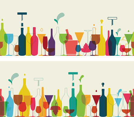 Retro coloured seamless wine and cocktail banners