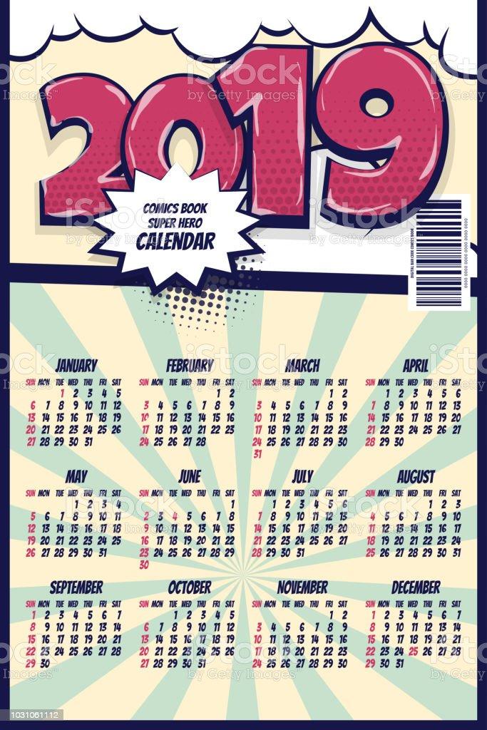 2019 Retro Comic Book Calendar Stock Illustration - Download Image
