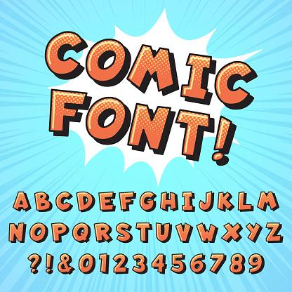 Retro comic book font. Super hero comics letters, vintage cartoon heroes fonts and pop art comics alphabet vector illustration