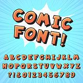 Retro comic book font. Super hero comics letters, vintage cartoon heroes fonts and pop art comics alphabet. Superhero text, comic numbers and letter symbols vector illustration set