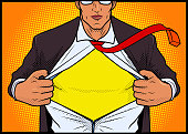 A comic book style vector illustration of a man opening his shirt revealing a superhero costume inside.