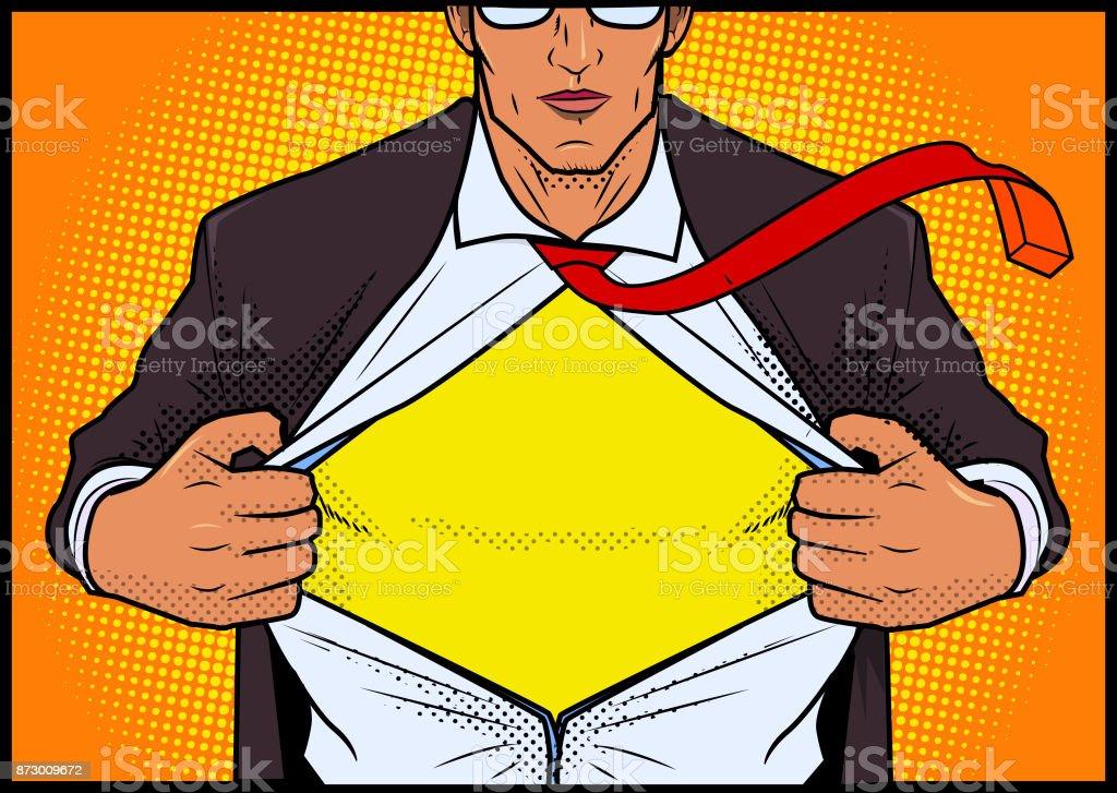 Bandes dessinées rétro Style super-héros ouverture chemise - Illustration vectorielle